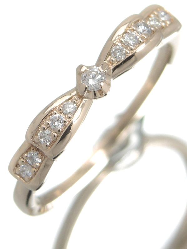 【4℃】【仕上済】ヨンドシー『K18PGリング ダイヤモンド リボンモチーフ』10号 1週間保証【中古】b06j/h17SA