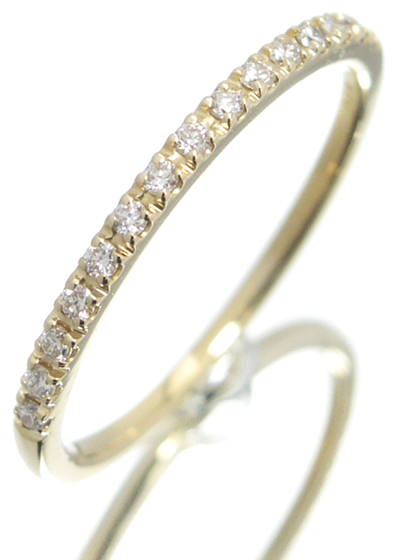 【Star Jewelry】スタージュエリー『K18YG マイクロセッティング ハーフエタニティ リング ダイヤ0.08ct』6号 1週間保証【中古】b01j/h08A