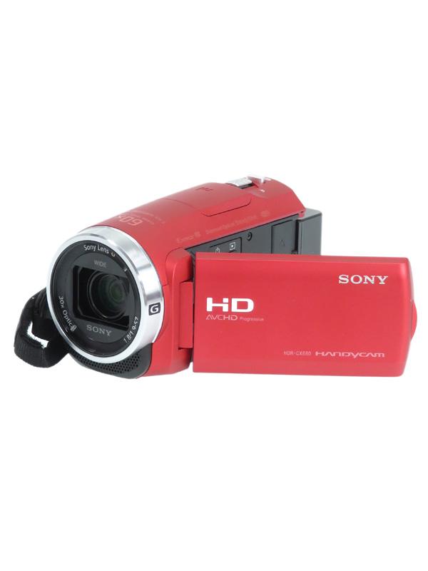 【SONY】ソニー『ハンディカム』HDR-CX680(R) レッド フルHD 64GB 光学30倍 Wi-Fi NFC デジタルビデオカメラ 1週間保証【中古】b02e/h04AB