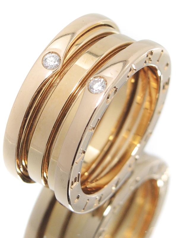 【BVLGARI】【日本限定】ブルガリ『K18PG B-zero1リング(ビーゼロワン) Sサイズ 4Pダイヤモンド』9.5号 1週間保証【中古】b03j/h15AB