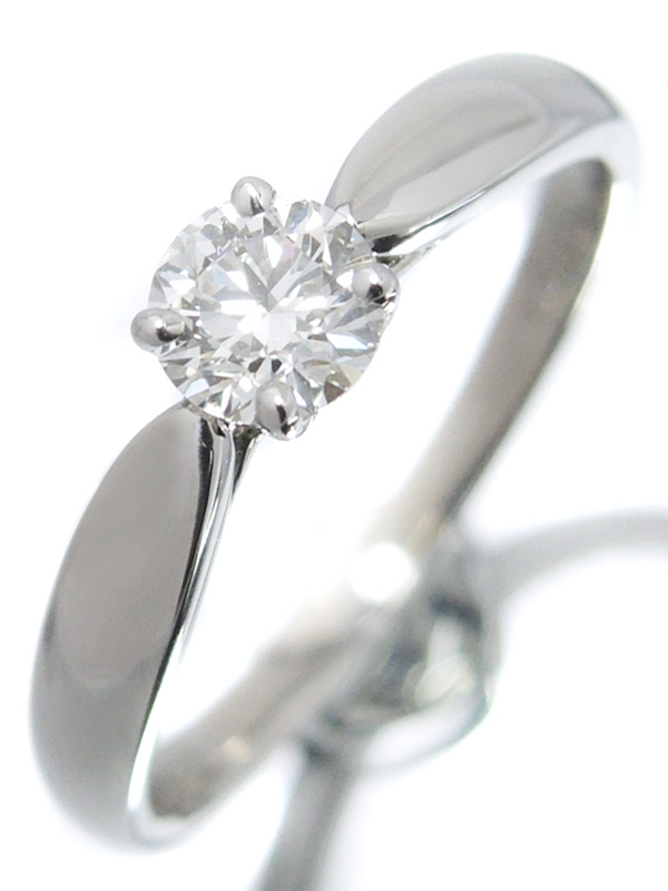 【TIFFANY&Co.】【仕上済】【鑑定書】ティファニー『PT950 ハーモニーリング 1Pダイヤモンド0.29ct/H/SI-1/EXCELLENT 』6.5号 1週間保証【中古】b06j/h17SA