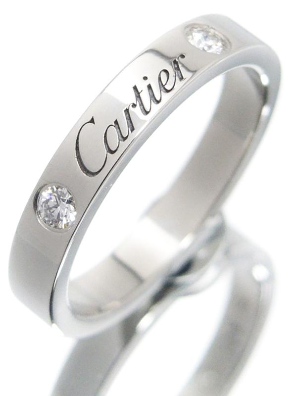 【Cartier】【C ドゥ カルティエ】【仕上済】カルティエ『PT950 エングレーブド リング 2Pダイヤモンド』7号 1週間保証【中古】b06j/h17SA