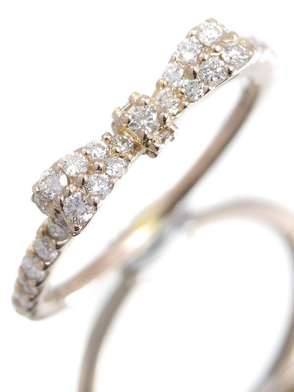 【Ponte Vecchio】【仕上済】【パヴェダイヤ】ポンテヴェキオ『K18PGリング ダイヤモンド0.35ct リボンモチーフ』7.5号 1週間保証【中古】b06j/h17A