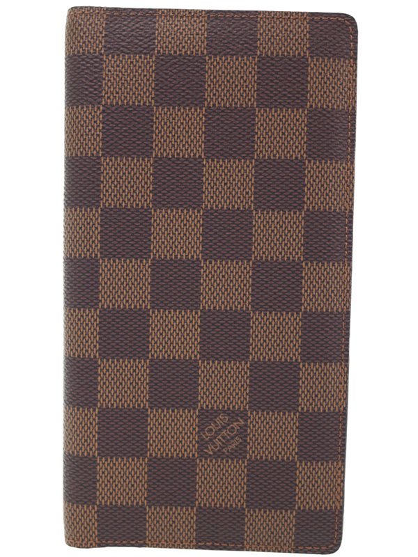 【LOUIS VUITTON】【小銭入れなし】ルイヴィトン『ダミエ ポルト バルール カルト クレディ』N61823 メンズ 二つ折り長札入れ 1週間保証【中古】b01b/h03A