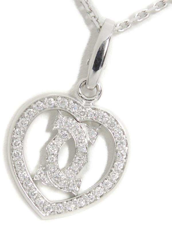 【Cartier】カルティエ『K18WG C2 ハート チャーム ネックレス ダイヤモンド』1週間保証【中古】b02j/h09A