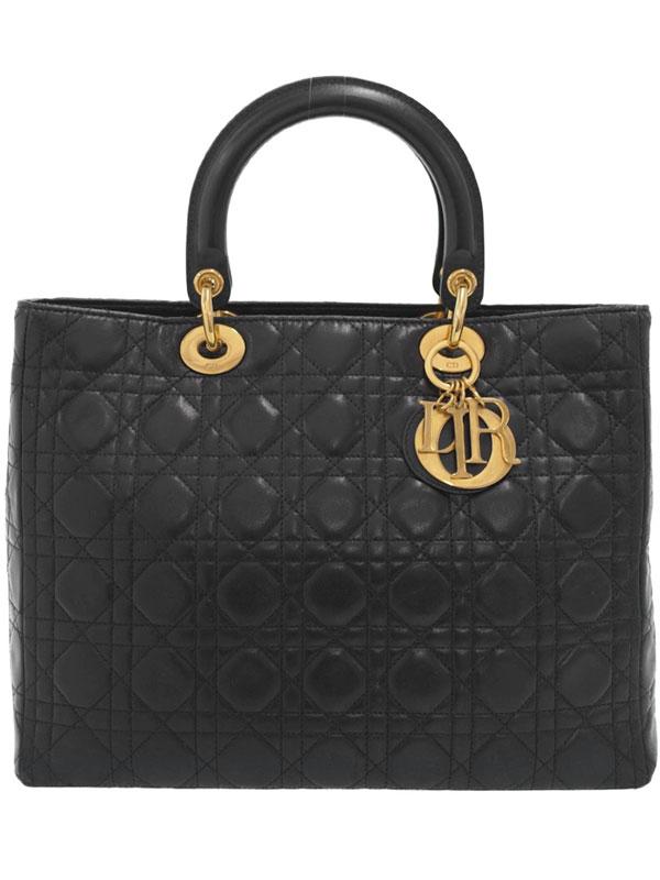 【Christian Dior】【カナージュ】クリスチャンディオール『レディディオール (L)』レディース ハンドバッグ 1週間保証【中古】b01b/h08B
