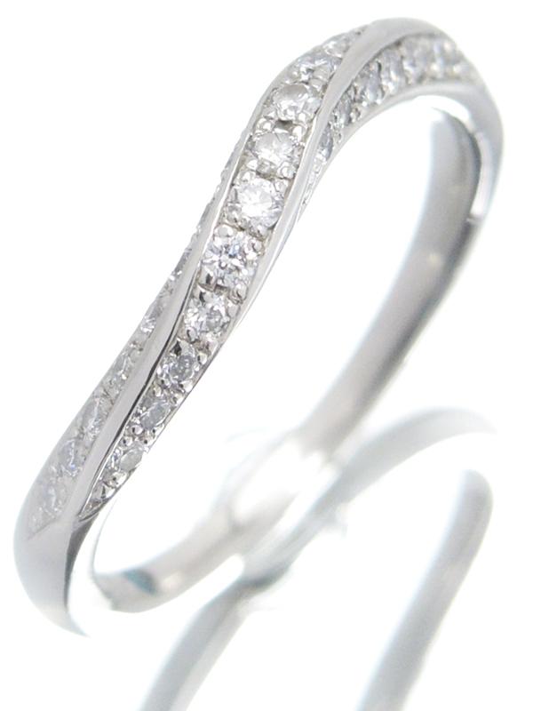 【4℃】ヨンドシー『PT995リング ダイヤモンド ウェーブライン』7号 1週間保証【中古】b06j/h18A