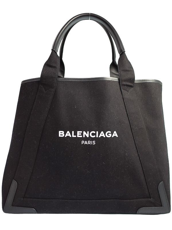 【BALENCIAGA】【ポーチ付】バレンシアガ『ネイビーカバM』339936 レディース トートバッグ 1週間保証【中古】b03b/h20A