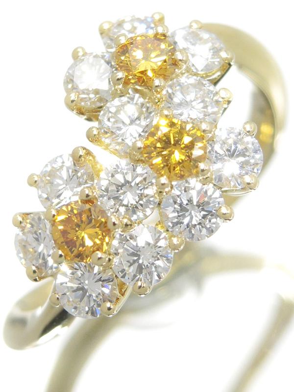 【Gimel】【鑑別書】ギメル『K18YG リング ダイヤモンド0.223ct 0.935ct フラワーモチーフ』8号 1週間保証【中古】b03j/h15A