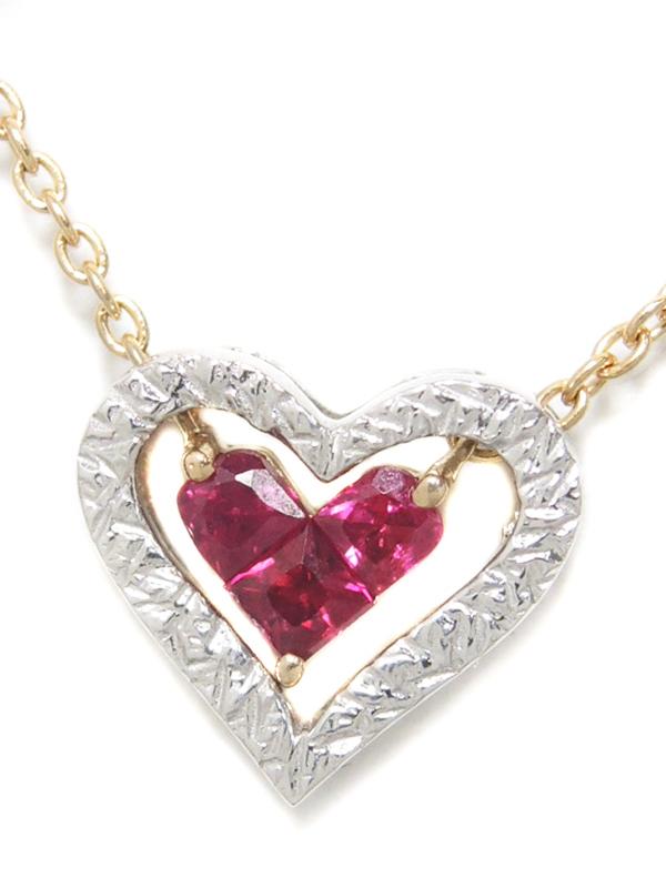 【Star Jewelry】【MYSTERIOUS HEART】【2006年クリスマス限定】スタージュエリー『K18PG/K18WG ミステリアスハート ネックレス ルビー0.18ct』【中古】b06j/h17SA