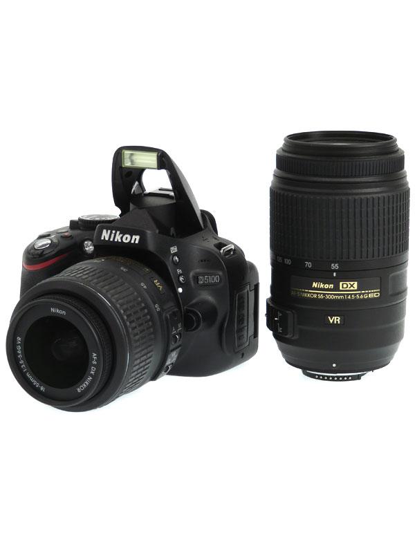 【Nikon】ニコン『D5100 ダブルズームキット』1620万画素 DXフォーマット SDXC フルHD動画 デジタル一眼レフカメラ 1週間保証b03e/h11B:高山質店