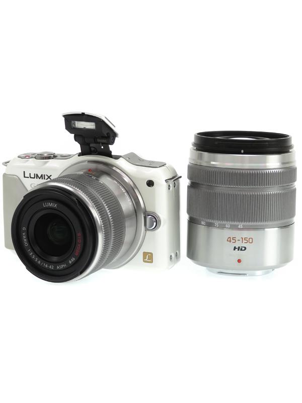 【Panasonic】パナソニック『LUMIX(ルミックス)GF5ダブルズームレンズキット』DMC-GF5WA-W ホワイト 1210万画素 ミラーレス一眼カメラ 1週間保証【中古】b03e/h14AB