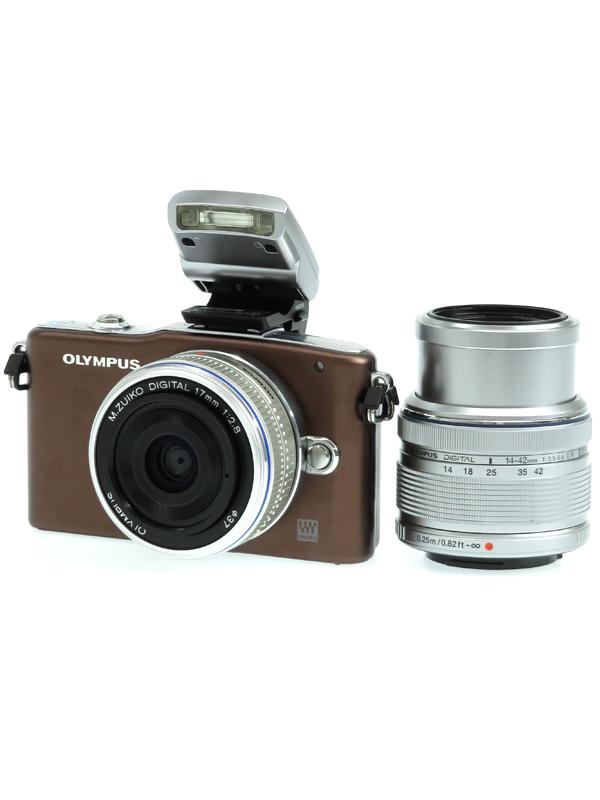 【OLYMPUS】オリンパス『OLYMPUS PEN mini E-PM1 ツインレンズキット』ブラウン 1230万画素 SDXC フルHD動画 ミラーレス一眼カメラ 1週間保証【中古】b03e/h06AB