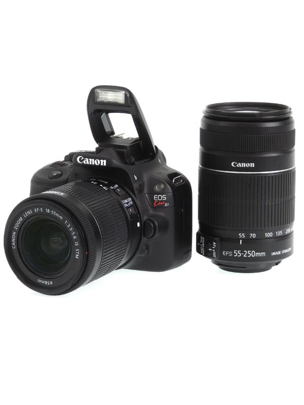 【Canon】キヤノン『EOS Kiss X7ダブルズームキット』KISSX7-WKIT 1800万画素 EF-S SDXC フルHD動画 デジタル一眼レフカメラ 1週間保証【中古】b03e/h20AB
