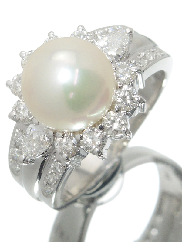 【TASAKI】タサキ『PT900 リング パール9.2mm ダイヤモンド0.91ct』12号 1週間保証【中古】b06j/h18A