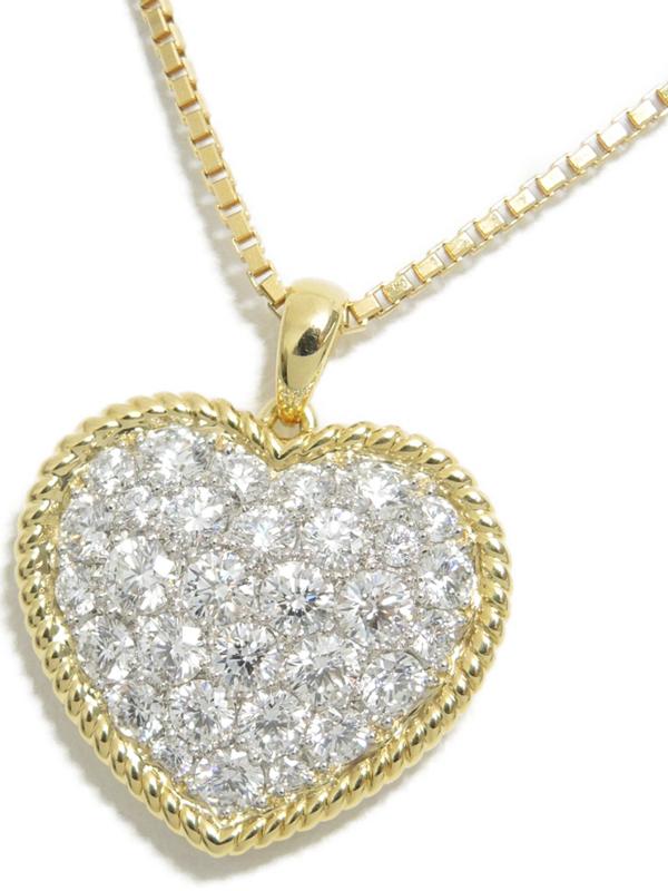 【Gimel】【チェーン社外品】ギメル『K18YG/PT950 ネックレス ダイヤモンド1.158ct パヴェハートモチーフ』1週間保証【中古】b03j/h20A