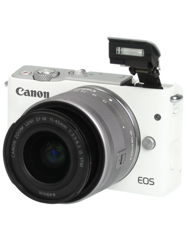 【Canon】キヤノン『EOS M10 EF-M15-45 IS STMレンズキット』EOSM10WH-1545ISSTM ホワイト 2420万画素 SDXC フルHD動画 ミラーレス一眼カメラ 1週間保証【中古】b03e/h03B