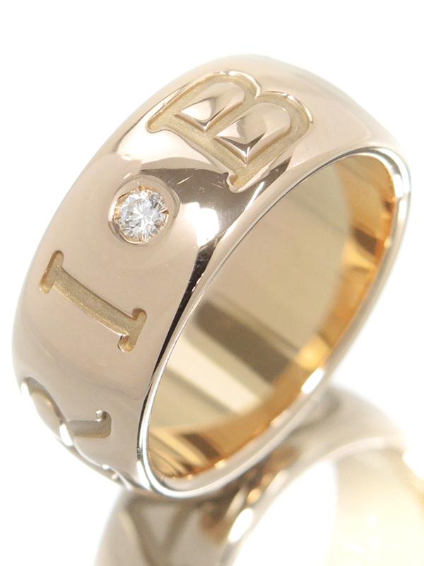 【BVLGARI】ブルガリ『K18PG モノロゴ リング 1Pダイヤモンド』12.5号 1週間保証【中古】b01j/h08A