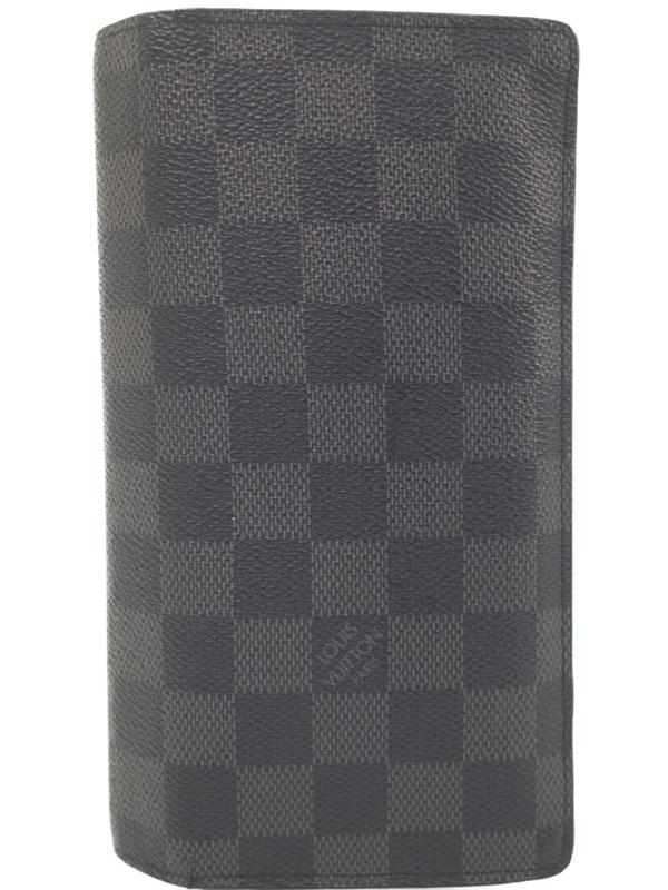 【LOUIS VUITTON】ルイヴィトン『ダミエ グラフィット ポルトフォイユ ブラザ』N62665 メンズ 二つ折り長財布 1週間保証【中古】b06b/h13BC