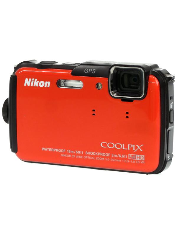 【Nikon】ニコン『COOLPIX AW110』サンシャインオレンジ 1605万画素 光学5倍 SDXC フルHD動画 コンパクトデジタルカメラ 1週間保証【中古】b03e/h20AB