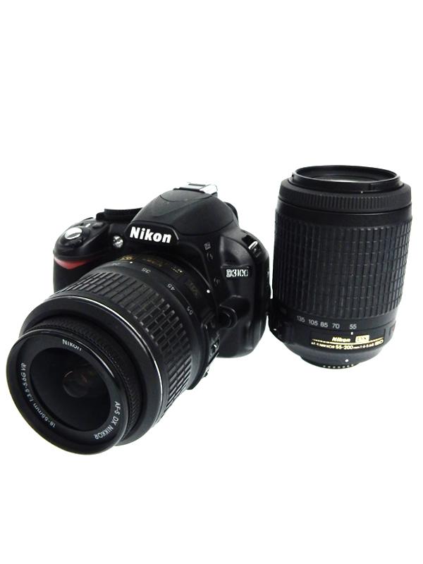 【Nikon】ニコン『D3100 ダブルズームキット』2011年 ブラック 1420万画素 DXフォーマット SDXC フルHD動画 デジタル一眼レフカメラ 1週間保証【中古】b06e/h17BC
