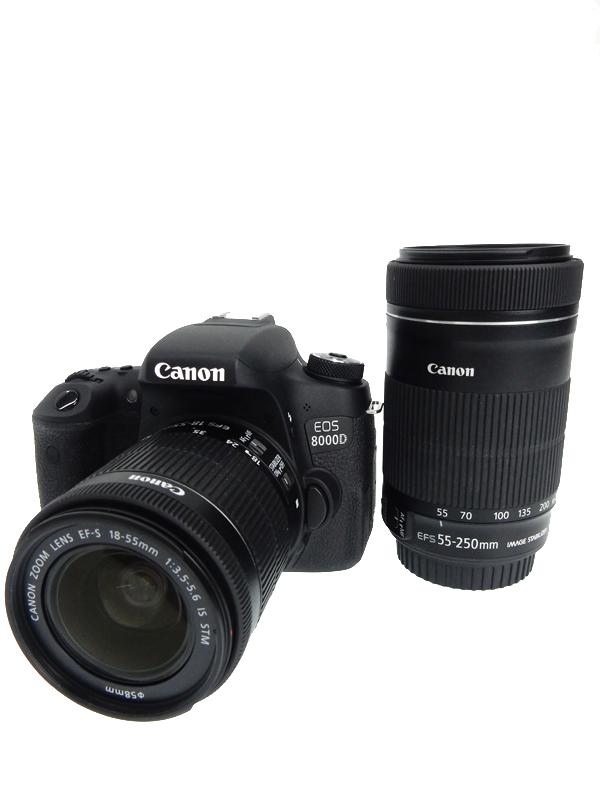 【Canon】キヤノン『EOS 8000D ダブルズームキット』EOS8000D-WKIT 2420万画素 EF-S フルHD動画 デジタル一眼レフカメラ 1週間保証【中古】b03e/h04AB