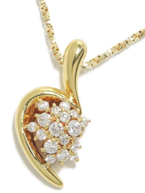 【星の砂】ホシノスナ『K18YG ネックレス ダイヤモンド0.41ct』1週間保証【中古】b03j/h20A