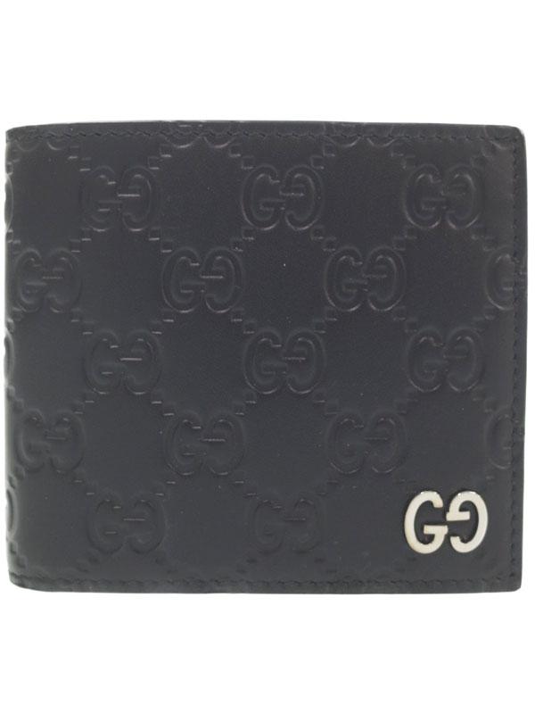 【GUCCI】グッチ『グッチシグネチャー レザー コインウォレット』473922 メンズ 二つ折り短財布 1週間保証【中古】b03b/h16A