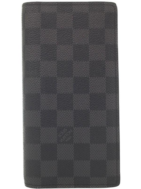 【LOUIS VUITTON】ルイヴィトン『ダミエ グラフィット ポルトフォイユ ブラザ』N62665 メンズ 二つ折り長財布 1週間保証【中古】b05b/h11AB