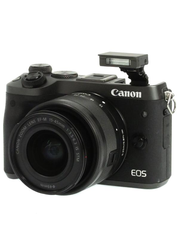 【Canon】キヤノン『EOS M6 EF-M15-45 IS STMレンズキット』ブラック 2420万画素 SDXC フルHD動画 ミラーレス一眼カメラ 1週間保証【中古】b06e/h15AB