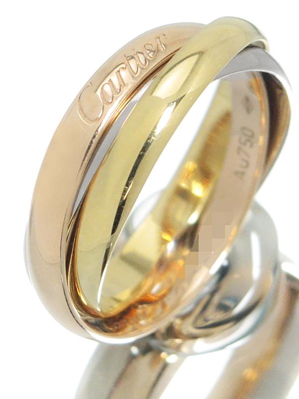 【Cartier】【スリーカラーゴールド】【仕上済】カルティエ『K18YG/K18PG/K18WG トリニティ リング』8.5号 1週間保証【中古】b03j/h11SA