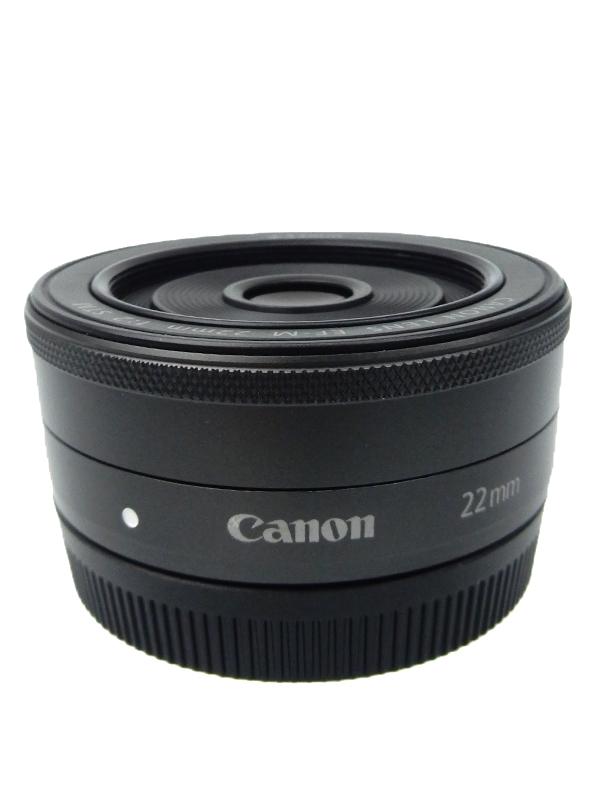 【Canon】キヤノン『EF-M22mm F2 STM』EF-M222STM ブラック 35mm相当 ミラーレス一眼カメラ用レンズ 1週間保証【中古】b06e/h13AB