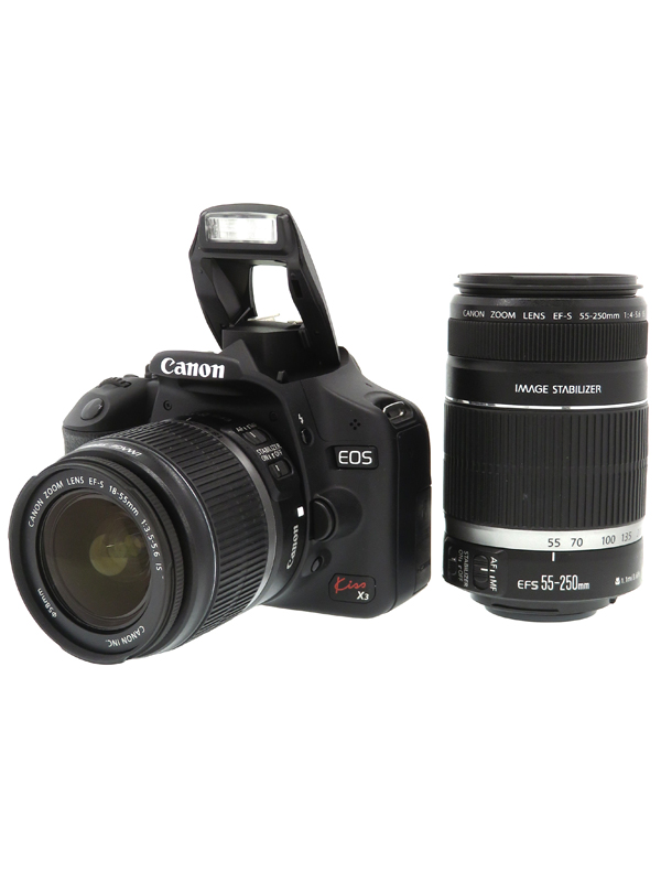 【Canon】キヤノン『EOS Kiss X3 ダブルズームキット』KISSX3-WKIT 1510万画素 EF-S SDHC フルHD動画 デジタル一眼レフカメラ 1週間保証【中古】b06e/h09B