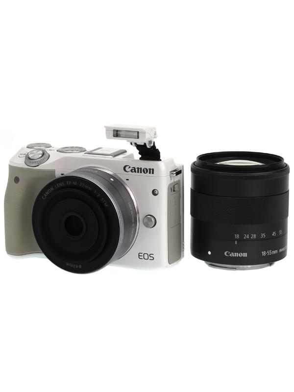 【Canon】キヤノン『EOS M3 ダブルレンズキット』EOSM3WH-WLK ホワイト 2420万画素 APS-C SDXC フルHD動画 ミラーレス一眼カメラ 1週間保証【中古】b05e/h10AB