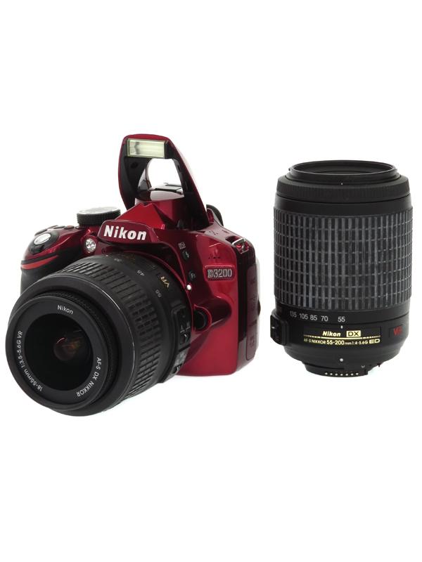 【Nikon】ニコン『D3200 ダブルズームキット』レッド 2416万画素 DXフォーマット SDXC フルHD動画 デジタル一眼レフカメラ 1週間保証【中古】b05e/h12B