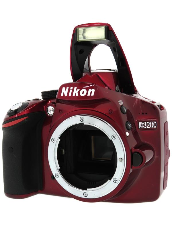 【Nikon】ニコン『D3200 ボディー』レッド 2416万画素 SDXC フルHD動画 デジタル一眼レフカメラ 1週間保証【中古】b03e/h02B