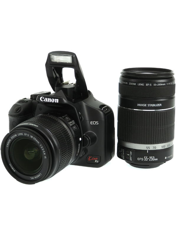 【Canon】キヤノン『EOS Kiss X2ダブルズームキット』KISSX2-WKIT 1220万画素 EF-S SDXC デジタル一眼レフカメラ 1週間保証【中古】b03e/h02B