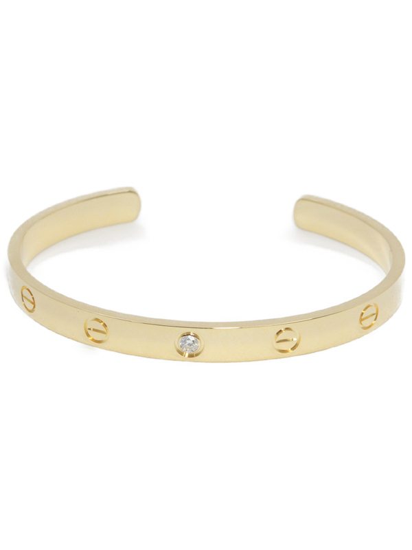 【Cartier】【メーカー仕上済】 カルティエ『K18YG ラブオープン バングル 1Pダイヤモンド』ブレスレット 1週間保証【中古】b01j/h08SA