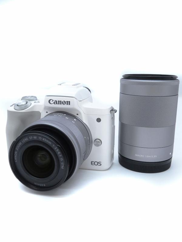 【Canon】キヤノン『EOS Kiss M ダブルズームキット ホワイト』EOSKISSMWH-WZK ミラーレス一眼カメラ 1週間保証【中古】b06e/h17AB