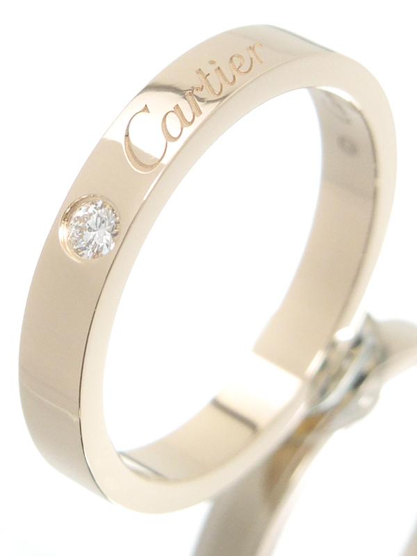 【Cartier】【C ドゥ カルティエ】【仕上済】カルティエ『K18PG エングレーブド リング 1Pダイヤモンド』10号 1週間保証【中古】b05j/h12SA
