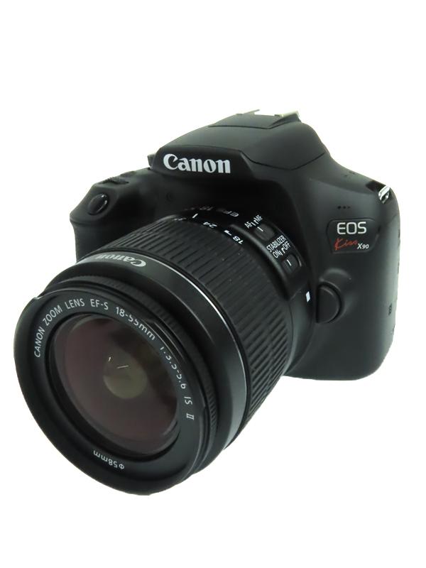 【Canon】キヤノン『 EOS Kiss X90 EF-S18-55 IS II レンズキット』2018年式 2410万画素 Wi-Fi 3インチ ブラック デジタル一眼レフカメラ 1週間保証【中古】b06e/h18AB