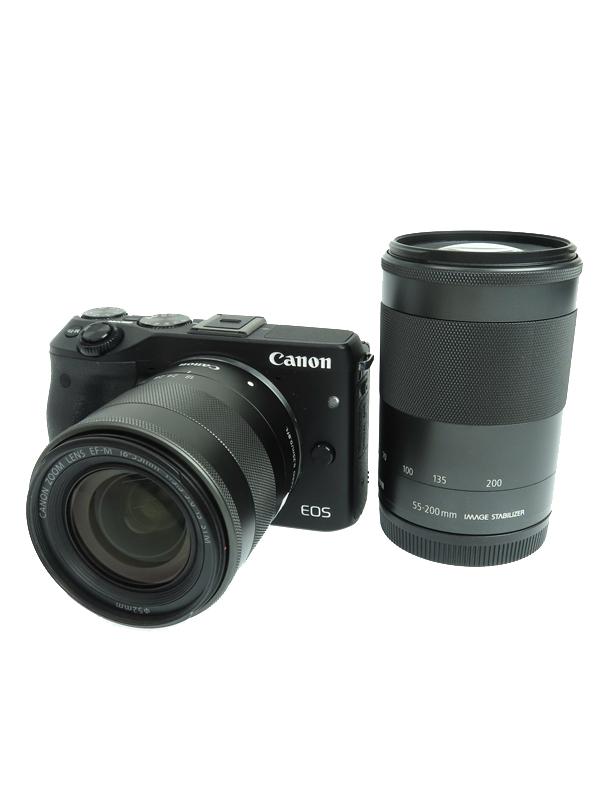 【Canon】キヤノン『EOS M3 ダブルズームキット』EOSM3BK-WZOOMKIT ブラック 2420万画素 APS-C SDXC フルHD動画 ミラーレス一眼カメラ 1週間保証【中古】b03e/h04A