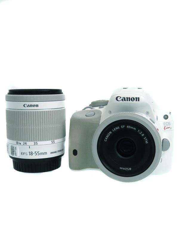 【Canon】キヤノン『EOS Kiss X7ダブルズームキット』KISSX7WH-WLK2 1800万画素 EF-S SDXC フルHD動画 デジタル一眼レフカメラ 1週間保証【中古】b06e/h17AB