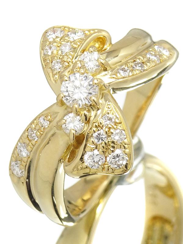 【TASAKI】タサキ『K18YG リボンモチーフ リング ダイヤモンド0.35ct 0.50ct』13号 1週間保証【中古】