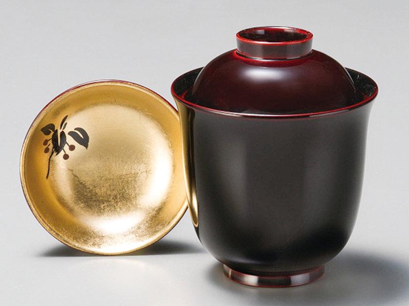 箔やぶこうじ プレゼント ギフト 和食器 記念品 懐石料理 小吸物椀 かわいい 溜 来客 蓋付き 5客:本漆塗り おもてなし おしゃれ 小椀