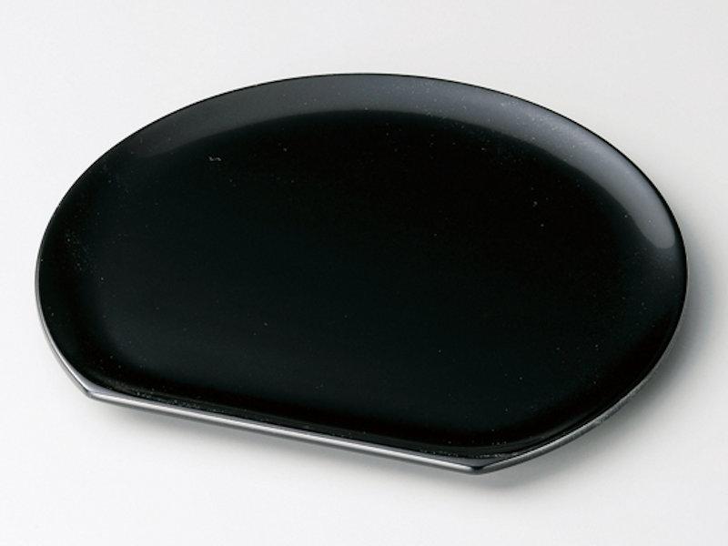 黒塗りが艶やかで半月形の美しい銘々皿です 半月 銘々皿 黒 5枚:木製漆塗り 日本製 和菓子 茶道 ショッピング 御祝 プレゼント 来客用 記念品 かわいい おしゃれ ギフト 大放出セール