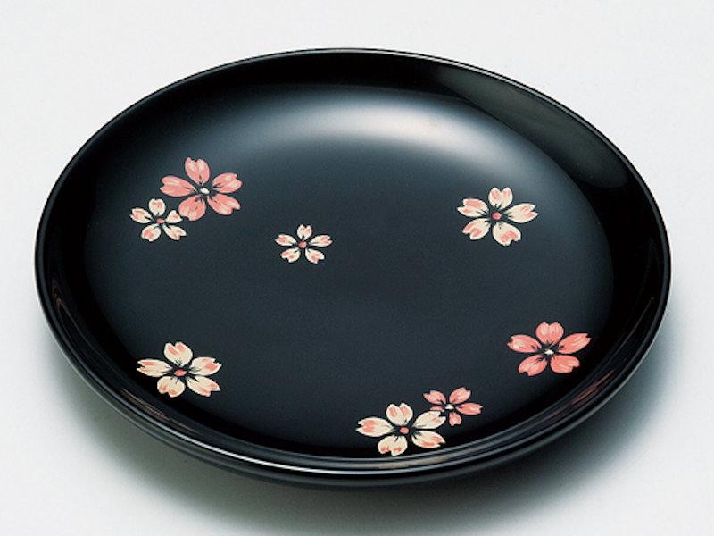 桜ちらし 銘々皿 黒 5枚
