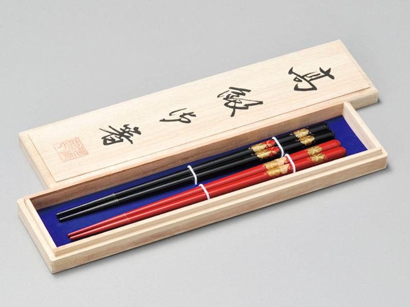 寿梅 夫婦箸 黒・朱 2膳