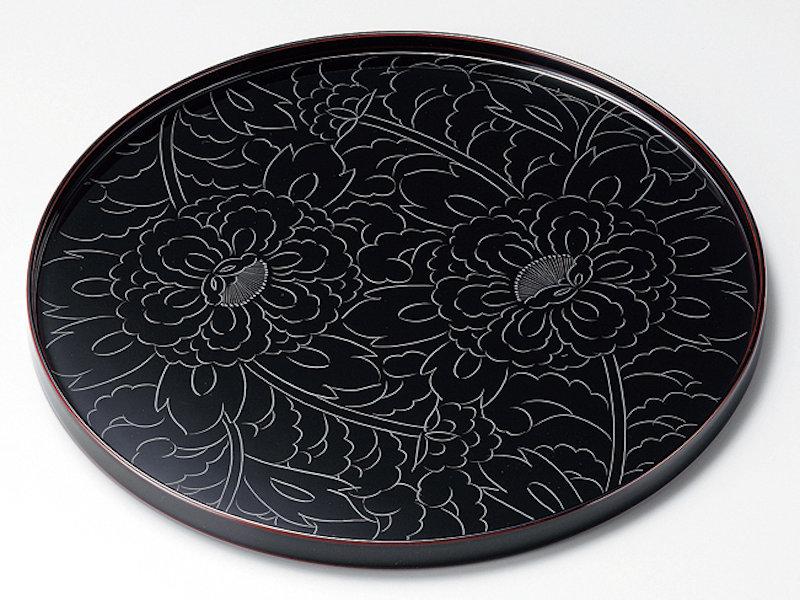 黒牡丹彫 8,0丸盆 溜 1枚