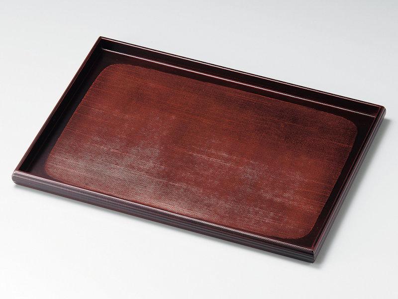 布目の風合いが活かされた大きめの卓上膳です 送料込 布目 尺3長角卓上膳 安い 溜 1枚